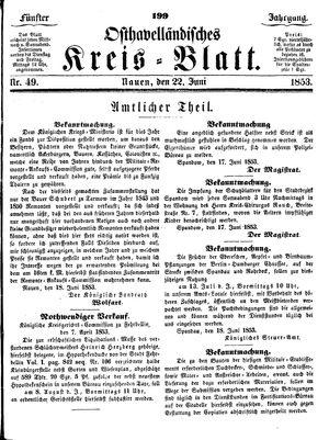 Osthavelländisches Kreisblatt on Jun 22, 1853