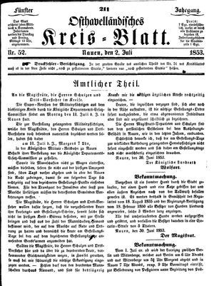 Osthavelländisches Kreisblatt vom 02.07.1853
