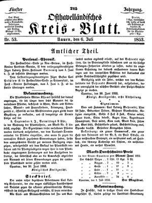 Osthavelländisches Kreisblatt vom 06.07.1853