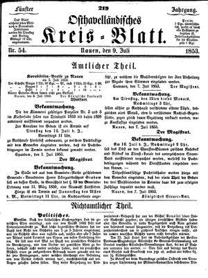 Osthavelländisches Kreisblatt vom 09.07.1853