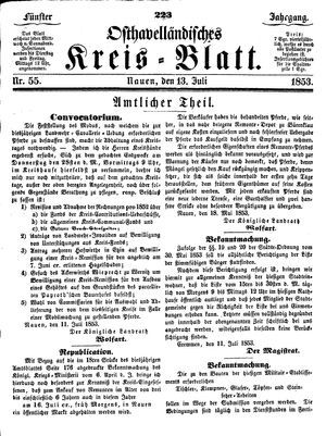 Osthavelländisches Kreisblatt vom 13.07.1853