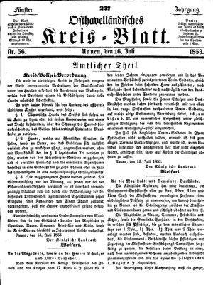 Osthavelländisches Kreisblatt vom 16.07.1853