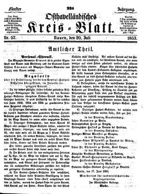 Osthavelländisches Kreisblatt vom 20.07.1853