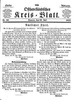 Osthavelländisches Kreisblatt vom 23.07.1853