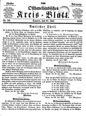 Osthavelländisches Kreisblatt vom 27.07.1853