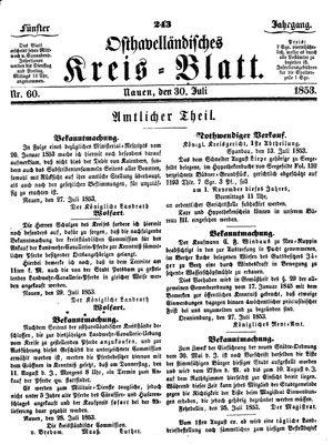 Osthavelländisches Kreisblatt vom 30.07.1853
