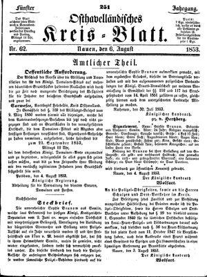 Osthavelländisches Kreisblatt on Aug 6, 1853
