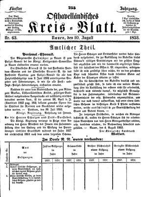 Osthavelländisches Kreisblatt vom 10.08.1853