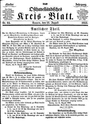Osthavelländisches Kreisblatt vom 13.08.1853