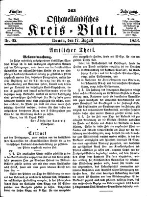 Osthavelländisches Kreisblatt vom 17.08.1853