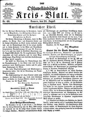 Osthavelländisches Kreisblatt vom 20.08.1853