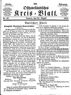 Osthavelländisches Kreisblatt vom 24.08.1853