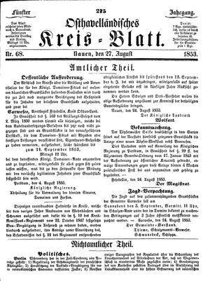Osthavelländisches Kreisblatt vom 27.08.1853