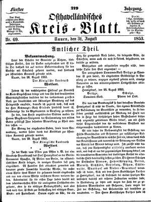 Osthavelländisches Kreisblatt on Aug 31, 1853