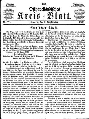 Osthavelländisches Kreisblatt vom 03.09.1853