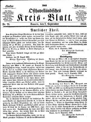 Osthavelländisches Kreisblatt vom 07.09.1853