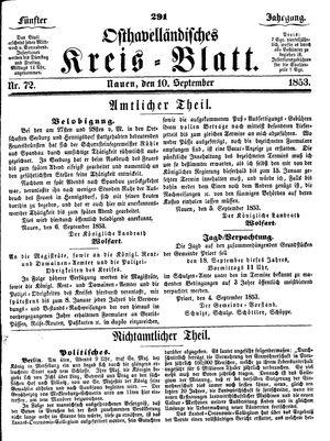 Osthavelländisches Kreisblatt vom 10.09.1853
