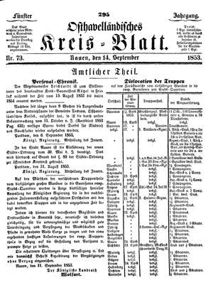 Osthavelländisches Kreisblatt on Sep 14, 1853