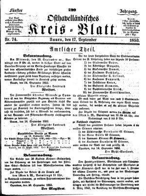 Osthavelländisches Kreisblatt vom 17.09.1853
