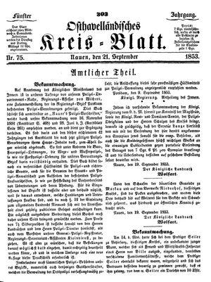 Osthavelländisches Kreisblatt on Sep 21, 1853