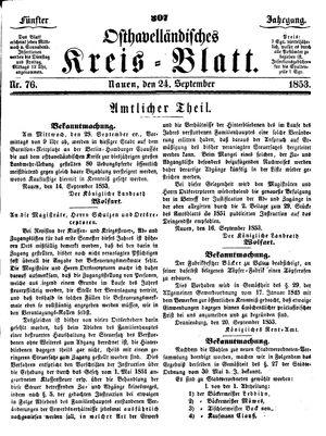 Osthavelländisches Kreisblatt vom 24.09.1853