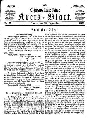 Osthavelländisches Kreisblatt vom 28.09.1853