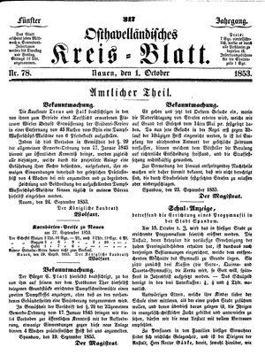Osthavelländisches Kreisblatt vom 01.10.1853