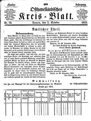 Osthavelländisches Kreisblatt vom 05.10.1853