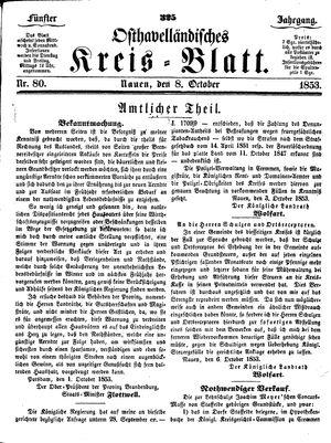 Osthavelländisches Kreisblatt vom 08.10.1853