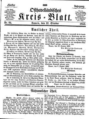 Osthavelländisches Kreisblatt vom 12.10.1853