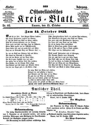 Osthavelländisches Kreisblatt vom 15.10.1853