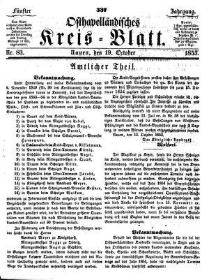 Osthavelländisches Kreisblatt vom 19.10.1853