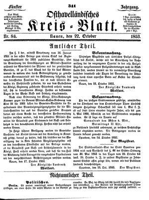 Osthavelländisches Kreisblatt vom 22.10.1853