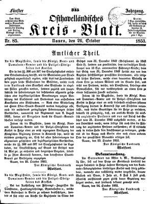 Osthavelländisches Kreisblatt vom 26.10.1853