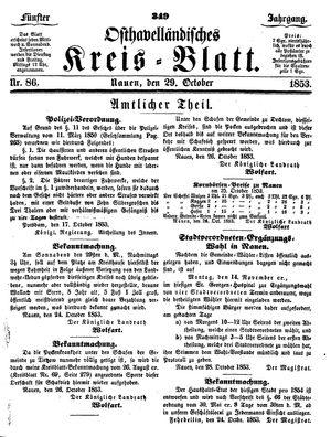 Osthavelländisches Kreisblatt vom 29.10.1853