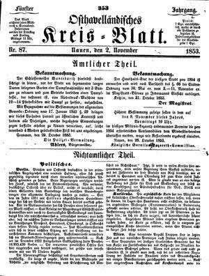 Osthavelländisches Kreisblatt vom 02.11.1853