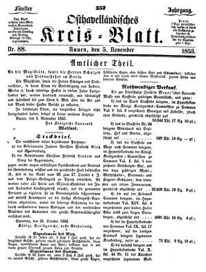 Osthavelländisches Kreisblatt vom 05.11.1853