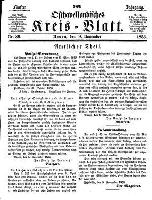 Osthavelländisches Kreisblatt on Nov 9, 1853