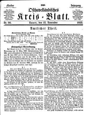 Osthavelländisches Kreisblatt vom 12.11.1853