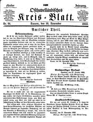 Osthavelländisches Kreisblatt vom 16.11.1853