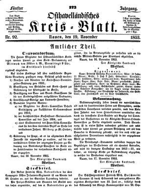 Osthavelländisches Kreisblatt vom 19.11.1853