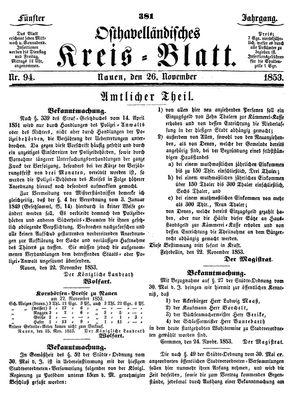 Osthavelländisches Kreisblatt vom 26.11.1853