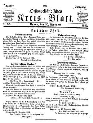 Osthavelländisches Kreisblatt vom 30.11.1853