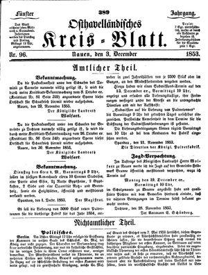 Osthavelländisches Kreisblatt vom 03.12.1853