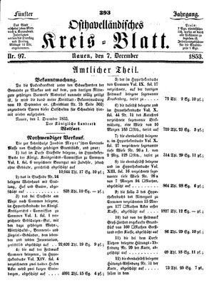 Osthavelländisches Kreisblatt vom 07.12.1853