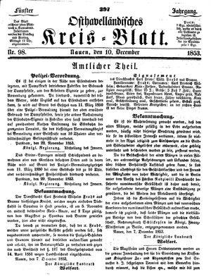 Osthavelländisches Kreisblatt vom 10.12.1853