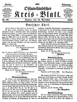 Osthavelländisches Kreisblatt vom 14.12.1853