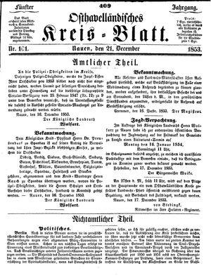 Osthavelländisches Kreisblatt vom 21.12.1853