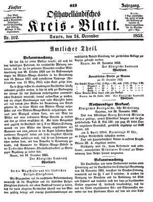 Osthavelländisches Kreisblatt vom 24.12.1853