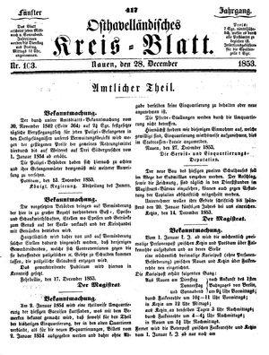 Osthavelländisches Kreisblatt vom 28.12.1853